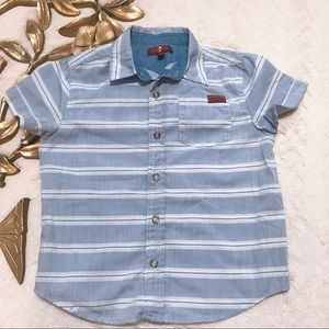7 for all Mankind Blue Striped Shortsleeve Shirt 4